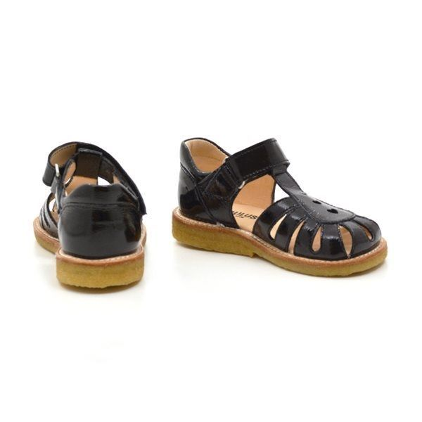 e94ed57559b Angulus lukket sandal m. tre hjerter lak/sort