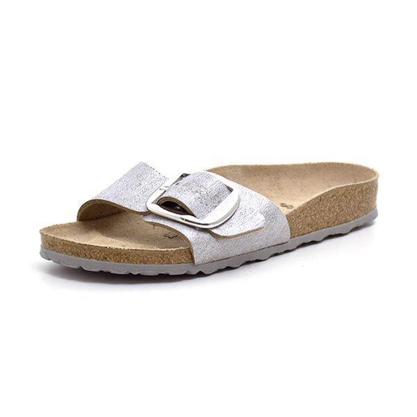 Birkenstock Madrid Big Buckle metallic  blue/sølv
