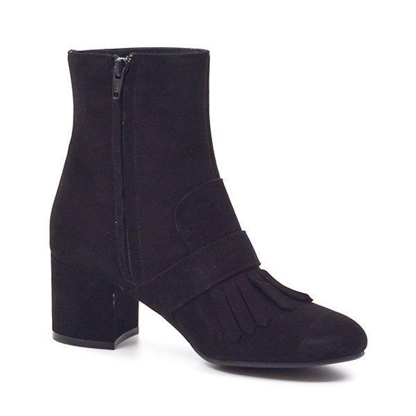 Billi Bi høj støvle m. blokhæl i ruskind sort