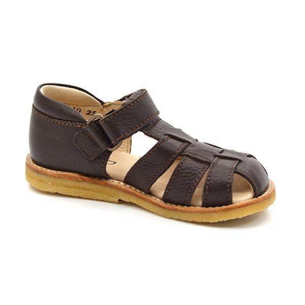 Alpacaandmore braune Damen Leder Sandalen vorne geschlossen