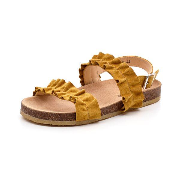 Angulus blød sandal m flæse, gul