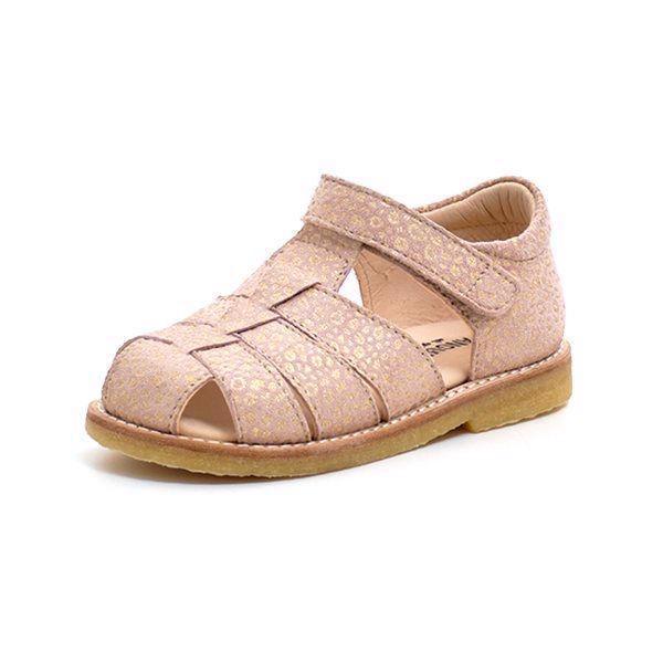 Angulus klassisk sandal ruskind rosamini leopard guld