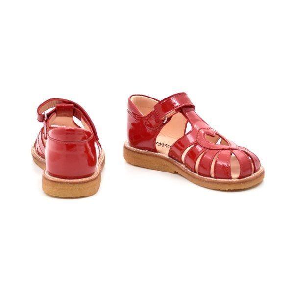 9e386ec90569 Angulus lukket sandal m. hjerte mørk rød lak (SMAL)