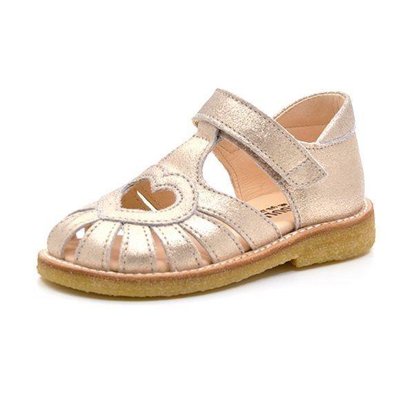50d2edbcf8a2 Angulus lukket sandal med hjerte sølv glimmer (SMAL)