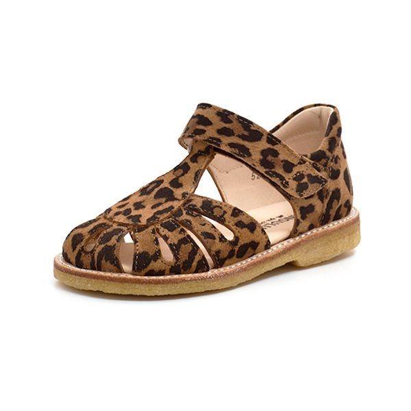 Angulus lukket sandal m. dråbe ruskind leopard print