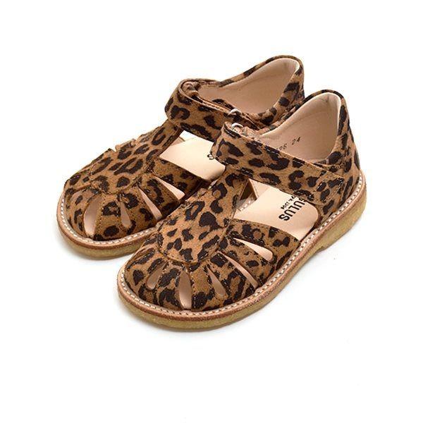 2fe4d45ec6c Angulus lukket sandal m. dråbe ruskind leopard print