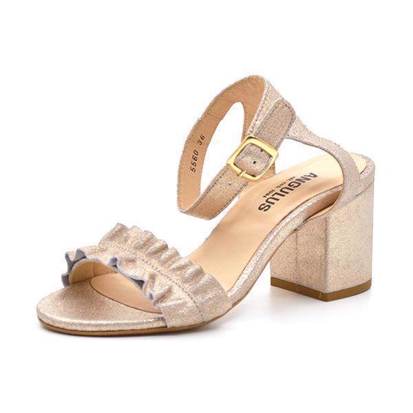 4a3a454ec78b Angulus sandal m. blokhæl sølv glitter
