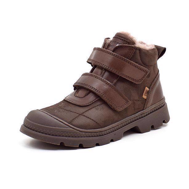 Bisgaard støvle med velcro og foer, brun