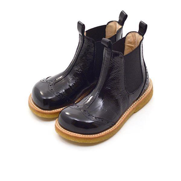 16cdf8f3f5e Angulus elastik støvlet m. hulmønster sort lak