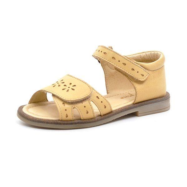 Pom Pom sandal m. velcrohulmønster lysegul