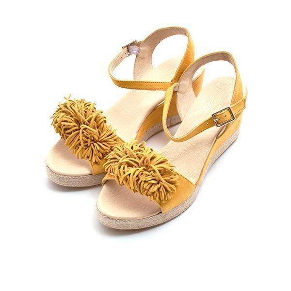 4e12f6c88f07 Billi Bi espadrillos sandal m. frynser ruskind gul