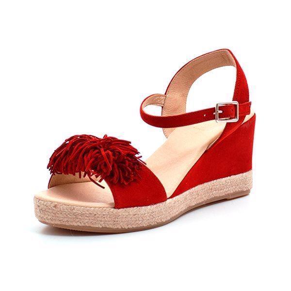 8e33a9420255 Billi Bi espadrillos sandal m. frynser ruskind rød