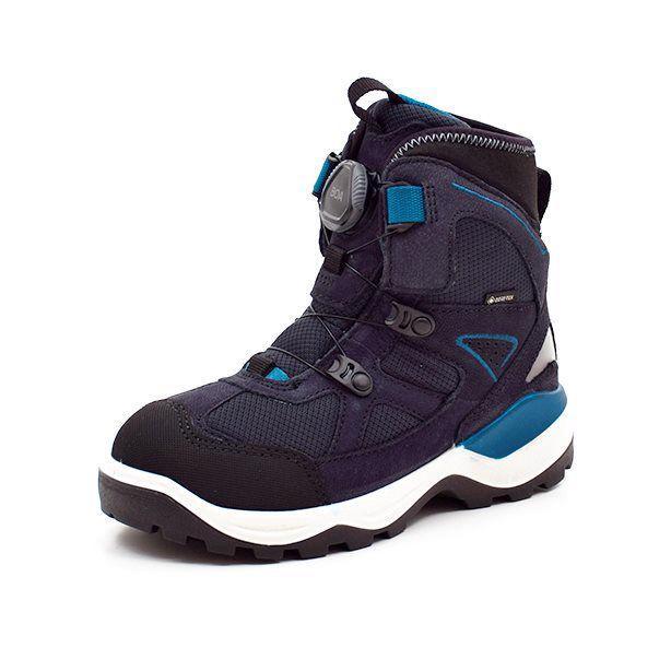 ECCO Snow Mountain TEX vinterstøvle BOA lukning blå/sort - Sej vinterstøvle fra ECCO i sort vandafvisende syntetiske tekstiler og af en blød skind overdel med goretex. Flotte grå og blå detaljer. Neopren øverst i støvleskaftet og et godt foer, der holder fødderne varme også på en kold vinterdag. God skrid sikker