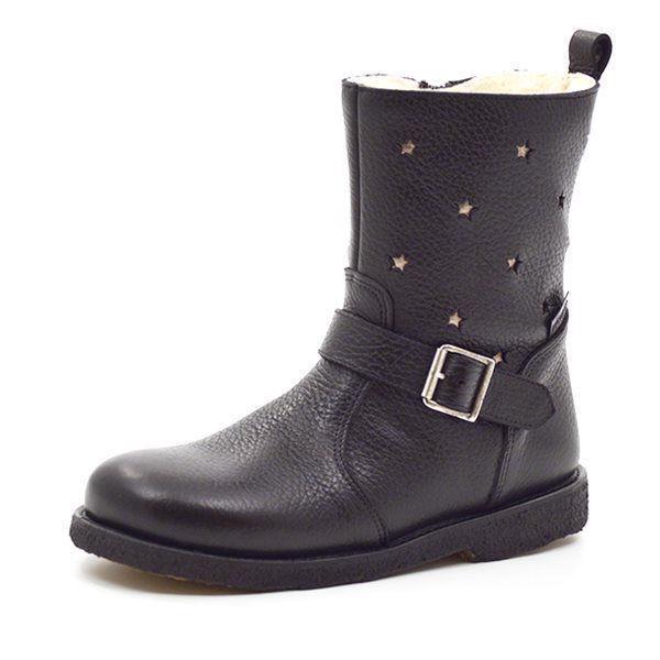 b1612037359 Angulus støvle med m. spænder og stjerner sort