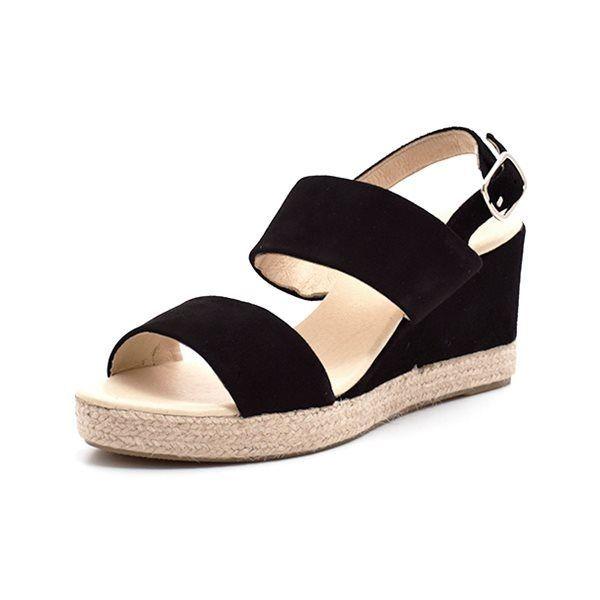 2af943cd5c5 Billi Bi espadrillos sandal ruskind sort - Skøn espadrillos sandal med  kilehæl fra Billi Bi med