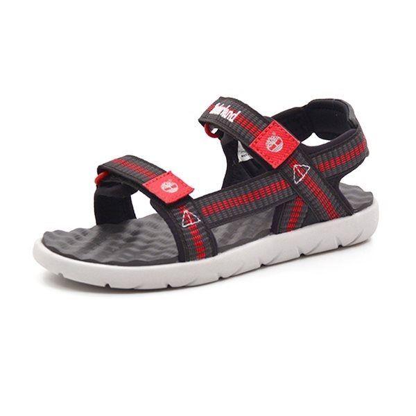8a80faf69d3 Timberland Perkins Row Webbing sandal grå/rød/sort - Fed velcrosandal fra  Timberland i