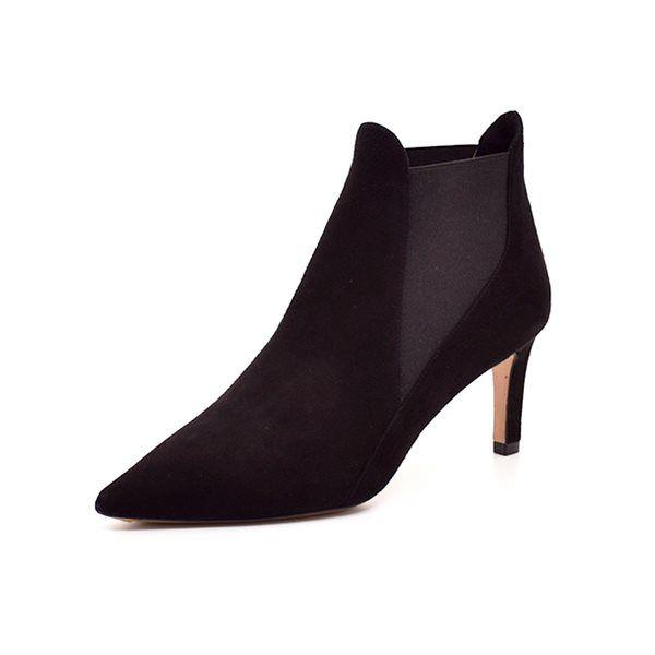 Pura Lopez støvlet ruskind sort - Smuk støvlet fra Pura Lopez i lækkert sort ruskind. Støvletten elastik i begge sider og spids snude. Hælhøjde ca. 6,5 cm.