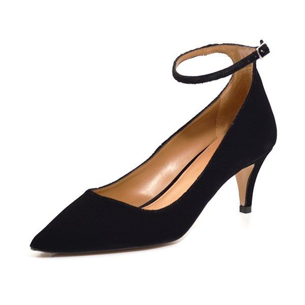 Pura Lopez Linda pumps m. ankelrem velour sort