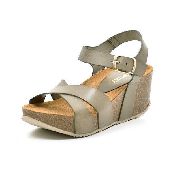 95760cae55c AMUST Bianca wedge cork sandal oliven grøn