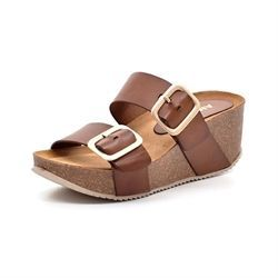 AMUST Adele wedge cork sandal cognac