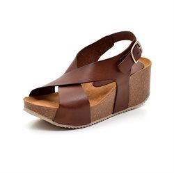 AMUST Alma wedge cork sandal cognac
