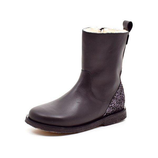 Bisgaard vinterstøvle sort med lynlås, snørebånd og TEX (tyndt foer)