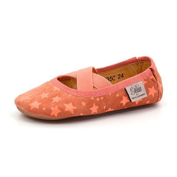 ced20775 Petit by sofie schnoor ballerinasutsko neon koral m. stjerner