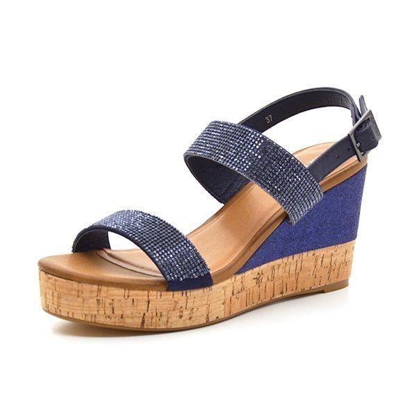 90814763b58 Ilse Jacobsen sandal m. wedge metallic blå