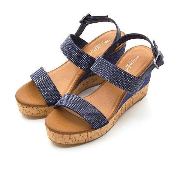e3c7d95eda4 - Ilse Jacobsen sandal m. wedge metallic blå