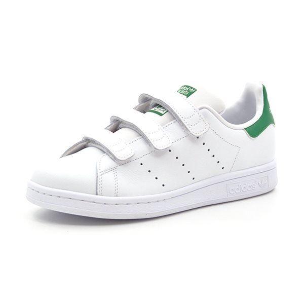 d2aa31ae73c701 Adidas Stan Smith CF J m. velcro hvid grøn